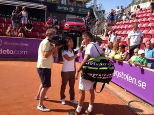 being interviewed